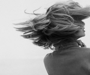 black and white, hair, and wind image