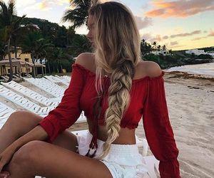 fashion, beach, and hair image