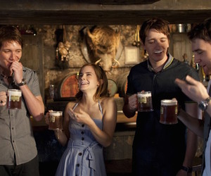 harry potter, emma watson, and butterbeer image