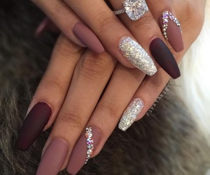 diamond, nails, and rose image