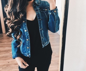 black, jacket, and jeans image
