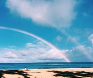 beach, summer, and rainbow image