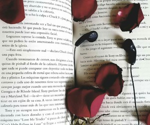 book, flower, and petals image