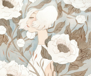 camouflage, fantasy art, and peonies image