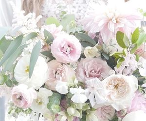 bouquet, flowers, and lace image