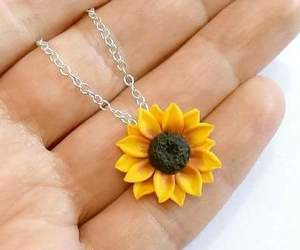 necklace, sunflower, and yellow image