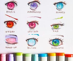eyes, drawing, and anime image