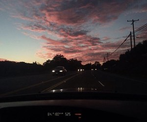 sky, sunset, and car image