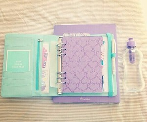 notebook, school, and purple image