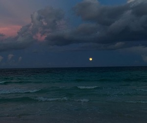 ocean, beach, and clouds image
