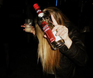 drunk, girl, and vodka image