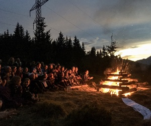 camp fire, fire, and nature image