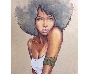 art, drawing, and Afro image