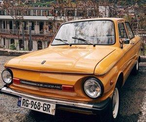car, retro, and yellow image