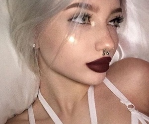 aesthetic, red lips, and model site models image