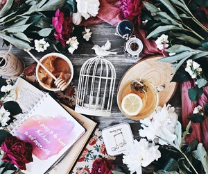 aesthetic, flowers, and coffee image