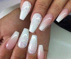 nails, white, and glitter image