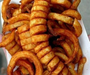 food, fries, and curly fries image