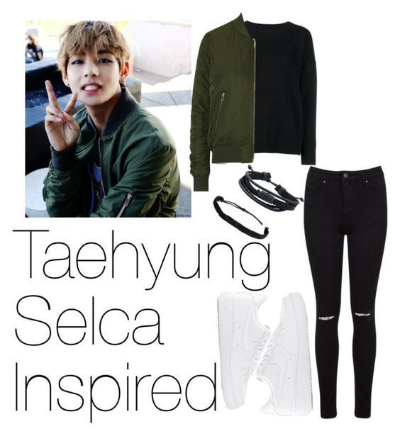 Taehyung Selca Inspired Outfit By Peachysenpai Liked On Polyvore Featuring Frame Denim Topshop Miss Selfridge Pura Vida Nike Kpop Bangtanboys Taehyung Kpopoutfits And Kpoppreferences