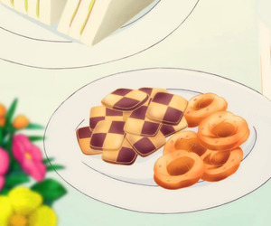 anime, Cookies, and drink image