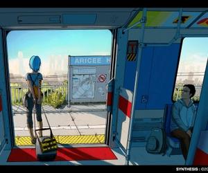 art, illustration, and train image