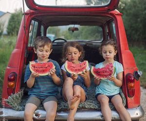kids, watermelon, and car image