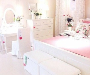 pink and white, room decor, and white bedroom image