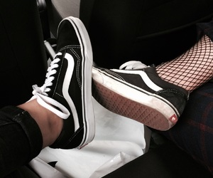 black, black shoes, and fishnet image