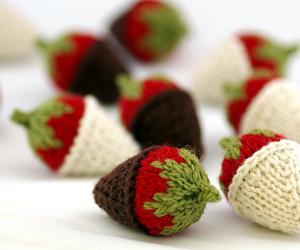 strawberry, chocolate, and knitting image