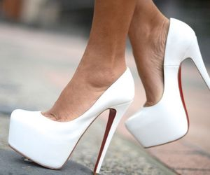 heels, high, and white image