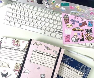 school, notebook, and pink image