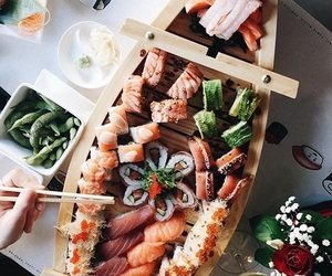 flowers, sushi, and love image
