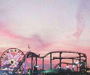 wallpaper, pink, and amusement park image