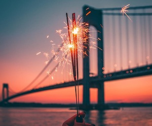 sky, bridge, and fireworks image