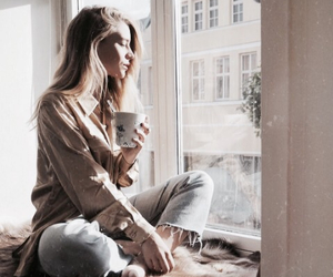 girl, fashion, and coffee image