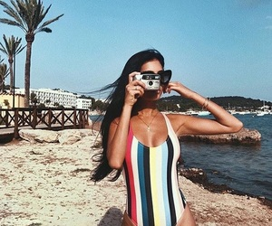 bathing suit, camera, and girl image