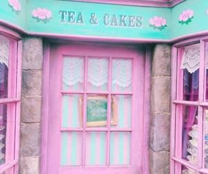 girl, cakes, and tea image