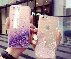 iphone, glitter, and hands image