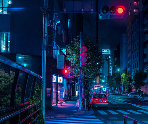 city, night, and tokyo image