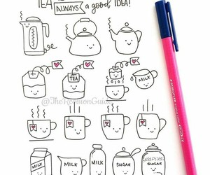 tea, cute, and draw image