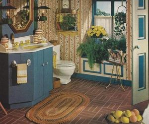 bathroom, blue, and classic image