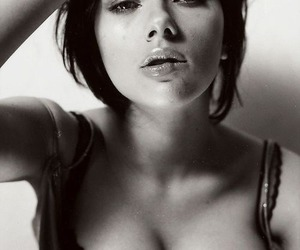 Scarlett Johansson and black and white image