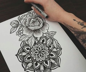 art, rose, and tattoo image