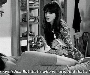 new girl, quotes, and weirdo image