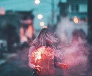 girl, lights, and pink image