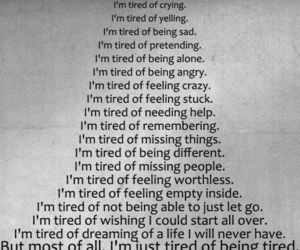 tired, sad, and quotes image
