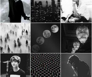 black and white, Collage, and jin image