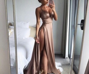 beauty, gold dress, and heels image