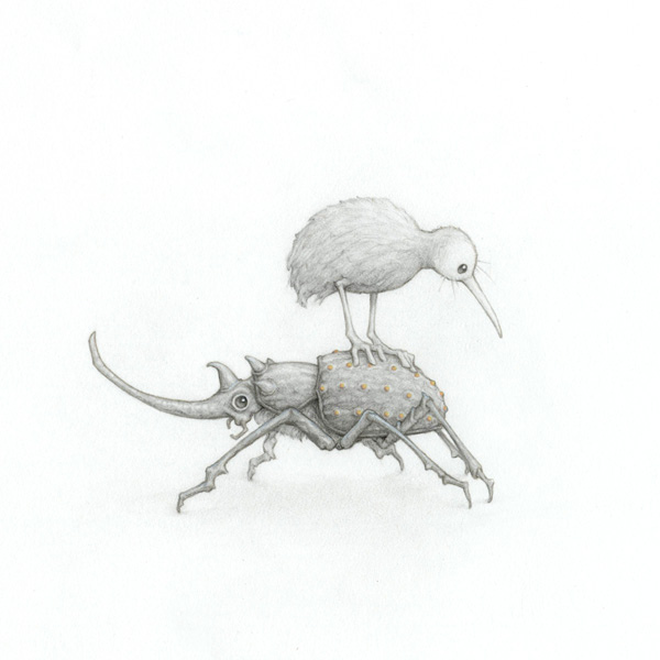 beetle, bird, and drawing image