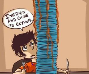 percy jackson, blue, and pancakes image